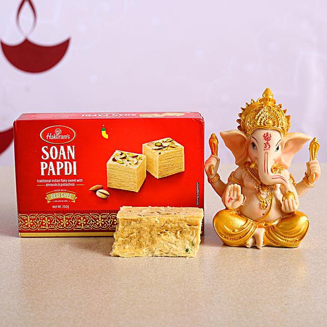Auspicious Ganesha Idol With Soan Papdi:Diwali Gift Delivery Canada