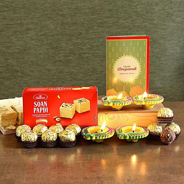 Designer Diyas With Soan Papdi And Chocolates