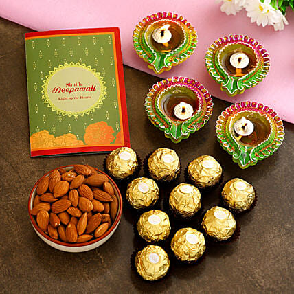 Diwali Celebration Floral Diyas And Delicious Treats:Chocolate Gift Baskets in Canada