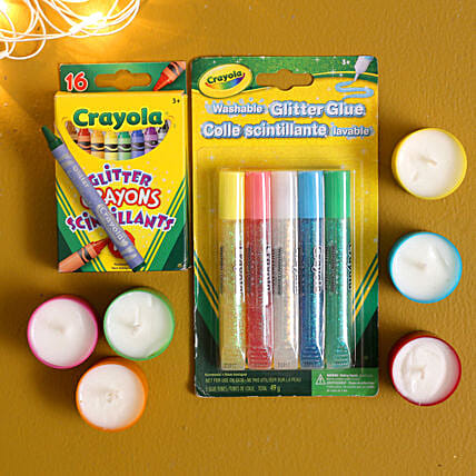 Fancy Candle Diyas With Crayola Glitter Pens