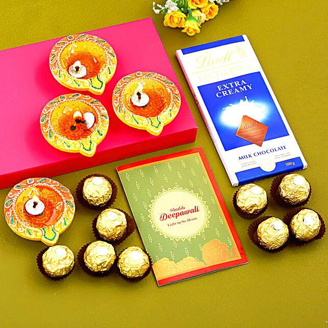Happy Diwali Diyas With Greeting Card & Chocolates:Send Chocolate to Canada