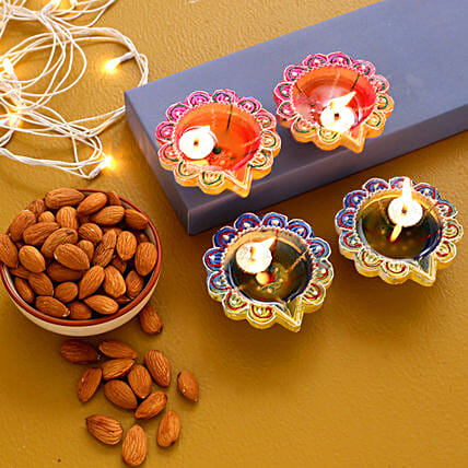 Set Of 4 Multicoloured Diyas With Almonds:Send Diwali Gifts to Canada