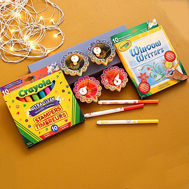 Set Of 4 Multicoloured Diyas With Stationary Set