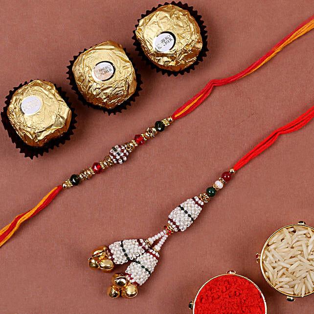 White Pearl Bhaiya Bhabhi Rakhi And 3 Pcs Ferrero Rocher:Mauli Rakhi to Canada