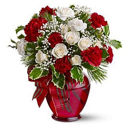 Carnations And Rose Christmas Arrangement