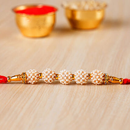 Fancy Golden Pearl Rakhi:Rakhi for Brother in China