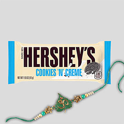 Fancy Rakhi And Hersheys Choco Bar Combo
