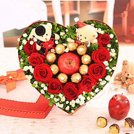 Flowers N Chocolates In Heart Shaped Box