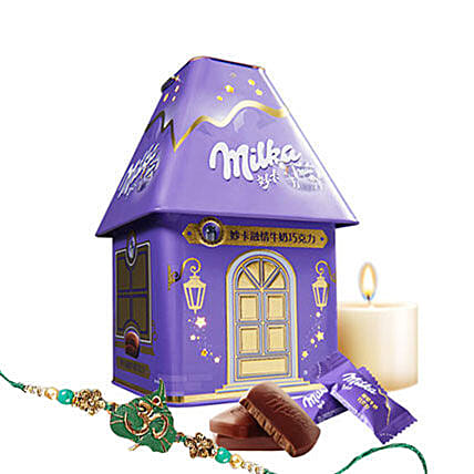 Milka Milk Chocolate And Rakhi Combo