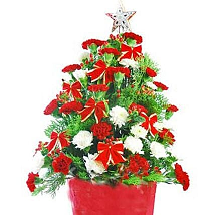Red And White Carnations Christmas Tree:Send Chinese New Year Gifts to China