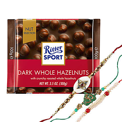 Ritter Chocolates And Three Rakhi Combo