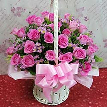 24 roses flower basket A-CIN:Send Rose Day Gifts to China