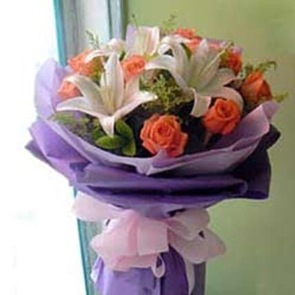 Rose Lily bouquet -CIN:Send Flowers to China