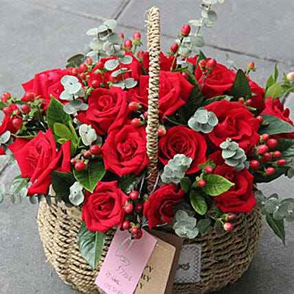 24 Red Roses Basket Arrangement:Send Flowers to China