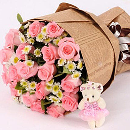 Bouquet Of 19 Diana Pink Roses