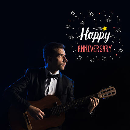 Happy Anniversary Romantic Tunes:Guitarist On Video Call In Croatia