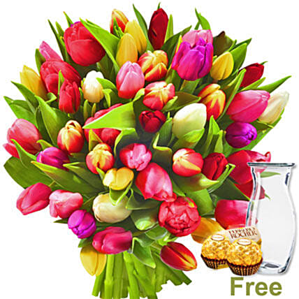 Bunch Of Tulips And Chocolates