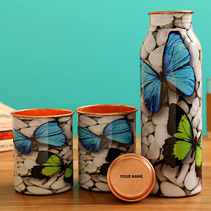 Butterfly Print Water Bottle With 2 Glasses