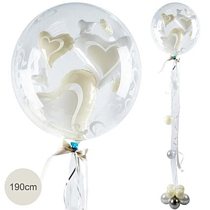Double Bubble Giant Balloon Hearts 190Cm