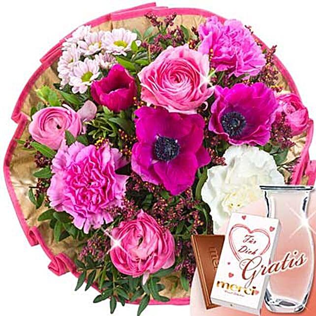 Flower Bouquet Poesie With Vase and Merci