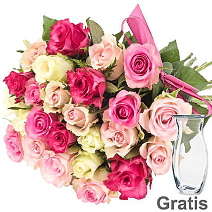 Fresh Pink And White Pastel Rose Bunch:Order Flowers in Germany