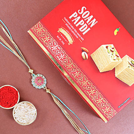 Traditional Design Rakhi And Soan Papdi