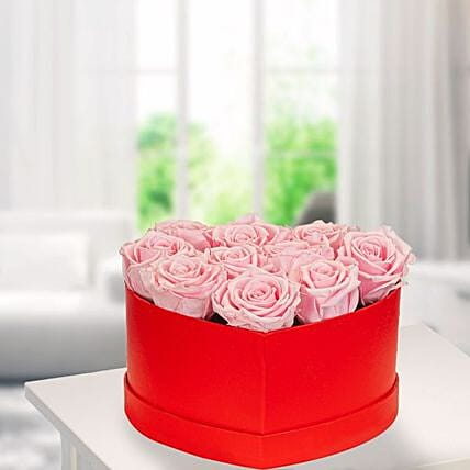 10 Light Pink Roses In A Red Heart Shaped Box