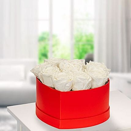 9 White Roses In A Red Heart Shaped Box