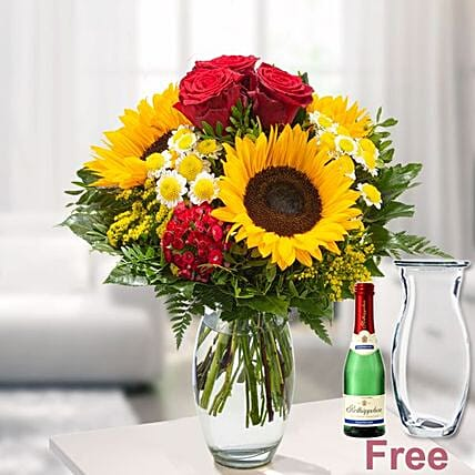 Flower Bouquet Meine Heldin With Vase And Rotkappchen Sparkling Wine