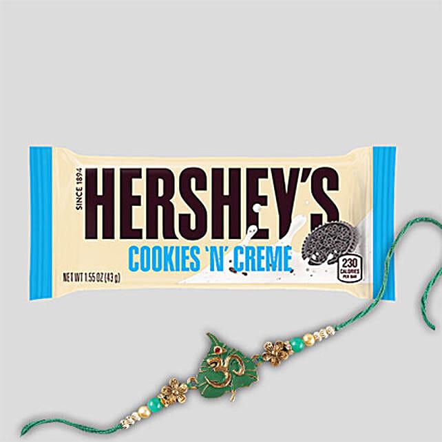 Fancy Rakhi And Hersheys Choco Bar Combo