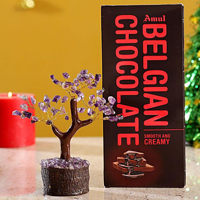 Amethyst Wish Tree & Chocolate:Valentines Day Gift Hungary