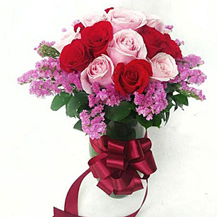 15 Mixed Colour Roses Arrangement:Valentines Day Roses to Indonesia