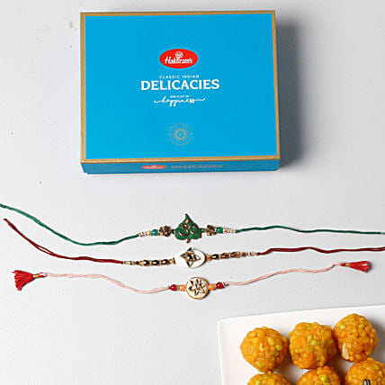 3 Colorful Rakhis With Boondi Laddu Combo