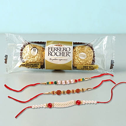 3 Rakhis With Rocher Yummy Combo:Rakhi With Chocolates To Indonesia