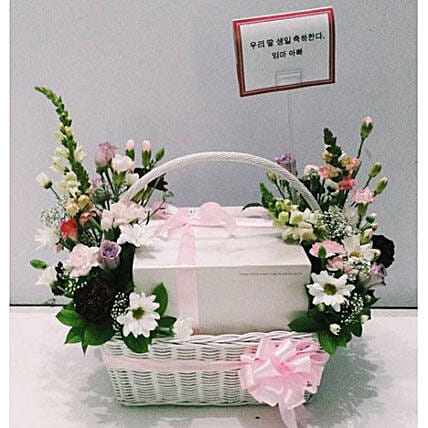 Cake Basket Korean Style:Deliver Flowers in Indonesia