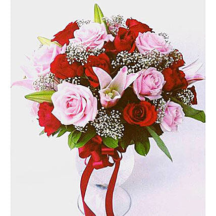 Elegant Mixed Roses Vase Arrangement:Send Flower Bouquet to Indonesia