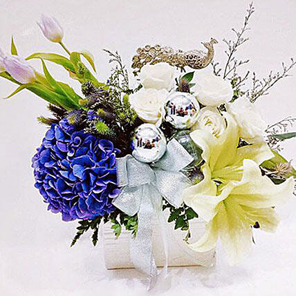 Elegant White N Blue Flower Arrangement:Flower Bouquet in Indonesia