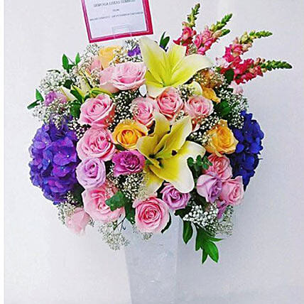 Pink N Yellow Flower Vase Arrangement