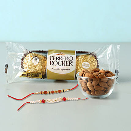 Rocher And almonds With 2 Designer Rakhis:Rakhi With Chocolates to Indonesia