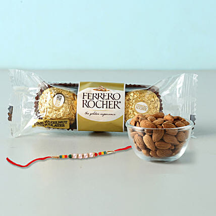Rocher And Almonds With Designer Rakhi:Rakhi With Chocolates To Indonesia