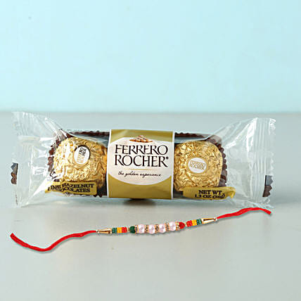 Rocher Special Beads Rakhi Combo:Rakhi With Chocolates to Indonesia