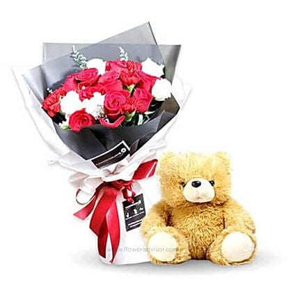 Rose Bouquet And Teddy Bear Combo