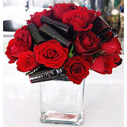 Ruby Red Roses Arrangement