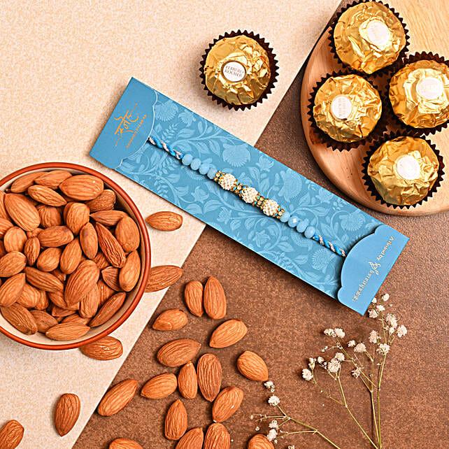 Sea Blue Pearls Rakhi And Almonds With 3 Pcs Ferrero Rocher
