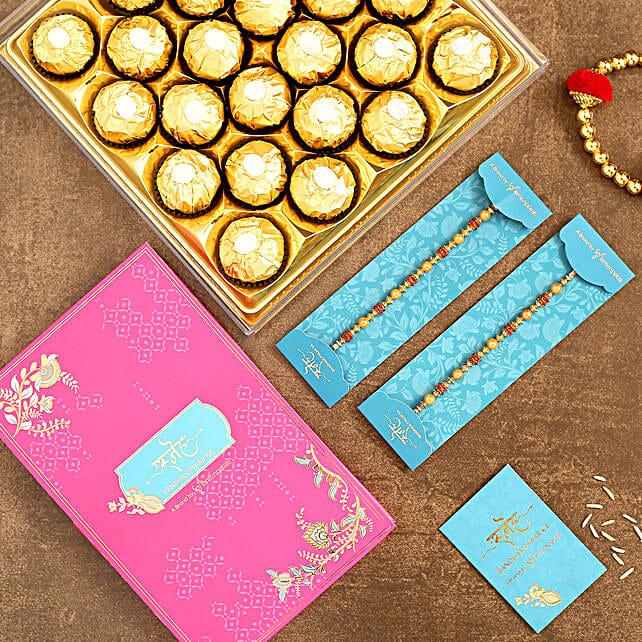 Traditional Pearl Studded Rakhi Set And 16 Pcs Ferrero Rocher:Send Rakhi to Indonesia