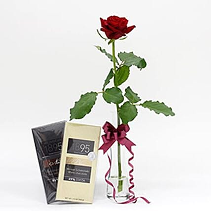 Red Rose And Chocolate Christmas Combo