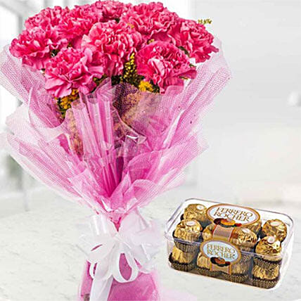 Charismatic Carnations And Chocolates Combo
