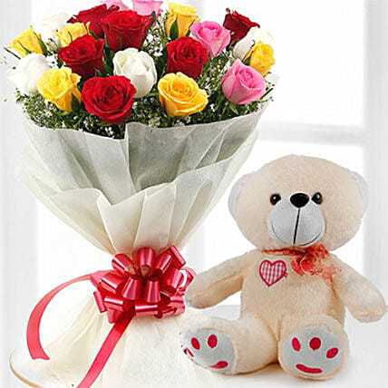 Mix Flowers And Teddy Combo
