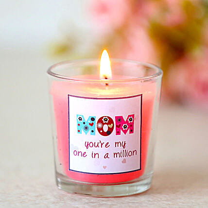 One In A Million Mom-1 pink vanilla fragrance glass candles for mom:Buy Candles