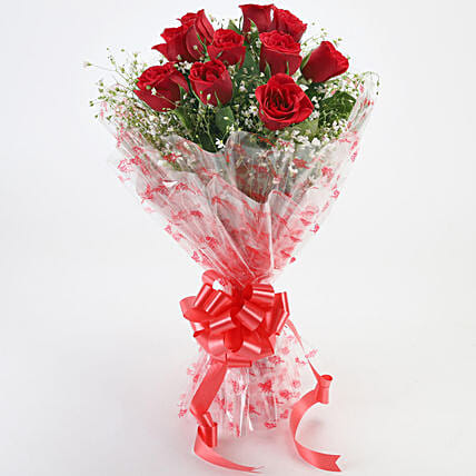 10 Red Roses Exotic Bouquet:Gifts for Rose Day